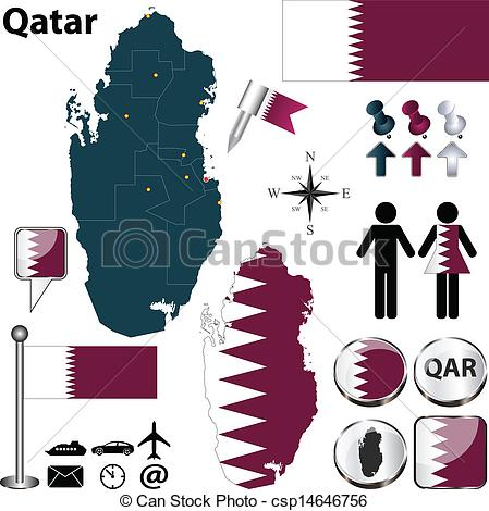 Clipart Vector of Map of Qatar.