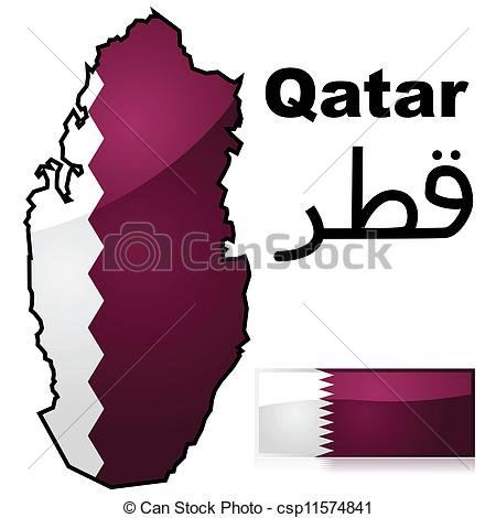 Vector Clipart of Qatar country.