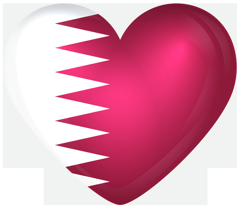 Qatar Large Heart Flag.