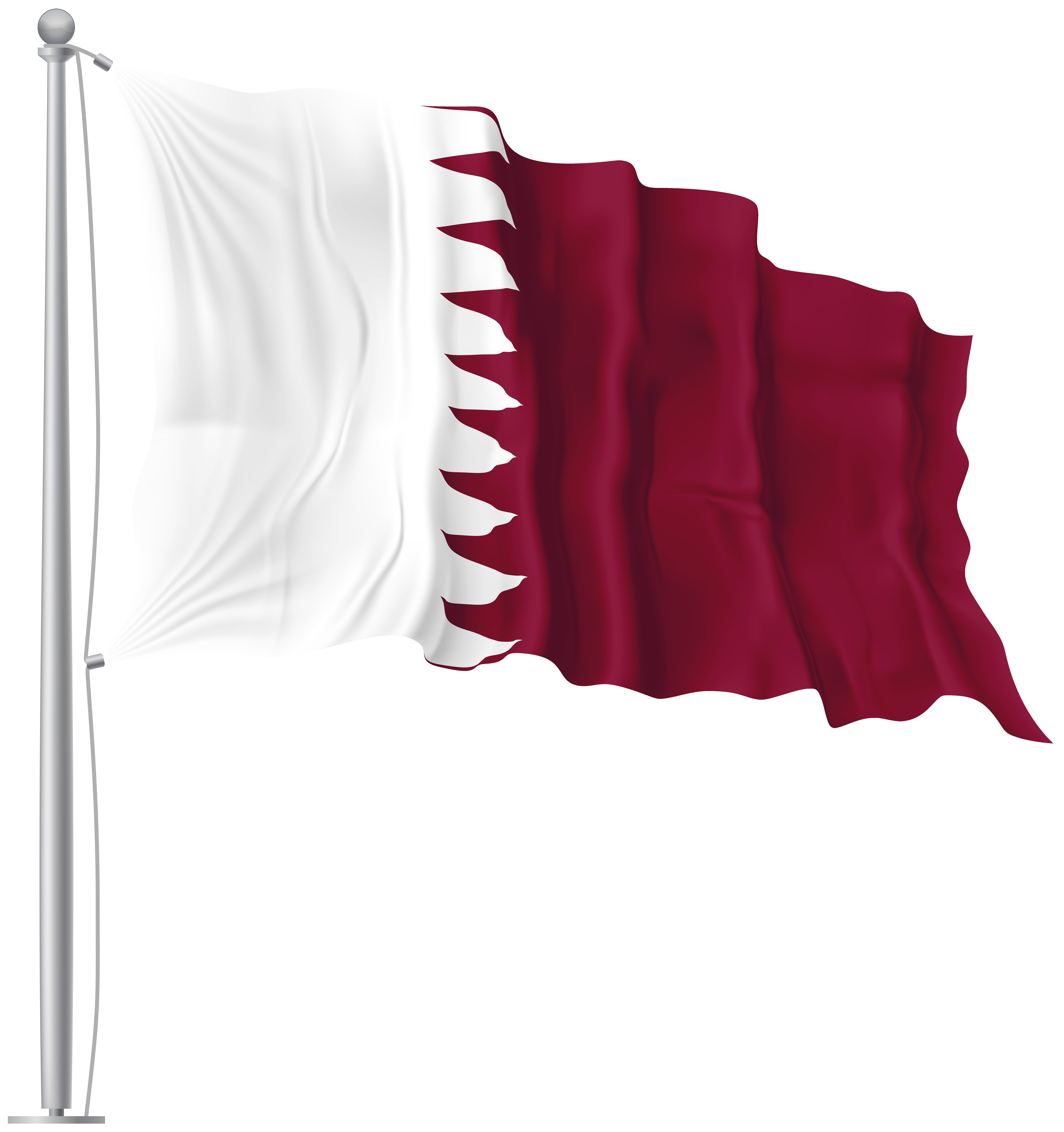 Qatar Waving Flag PNG Image.