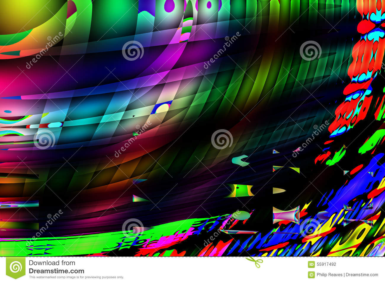 Qbist Abstract Background Stock Illustration.