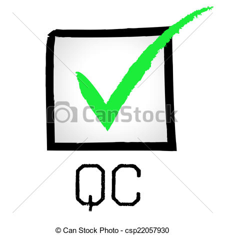 Drawings of Qc Tick Means Quality Control And Approved.