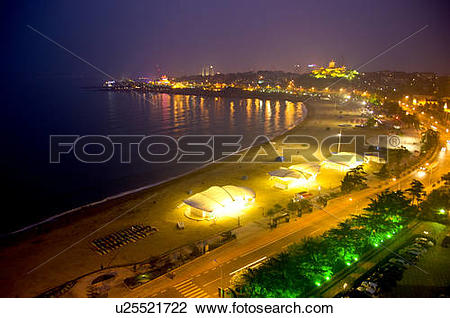 Stock Photo of China, Shandong, Qingdao, Huiquan Gulf Scenic Area.
