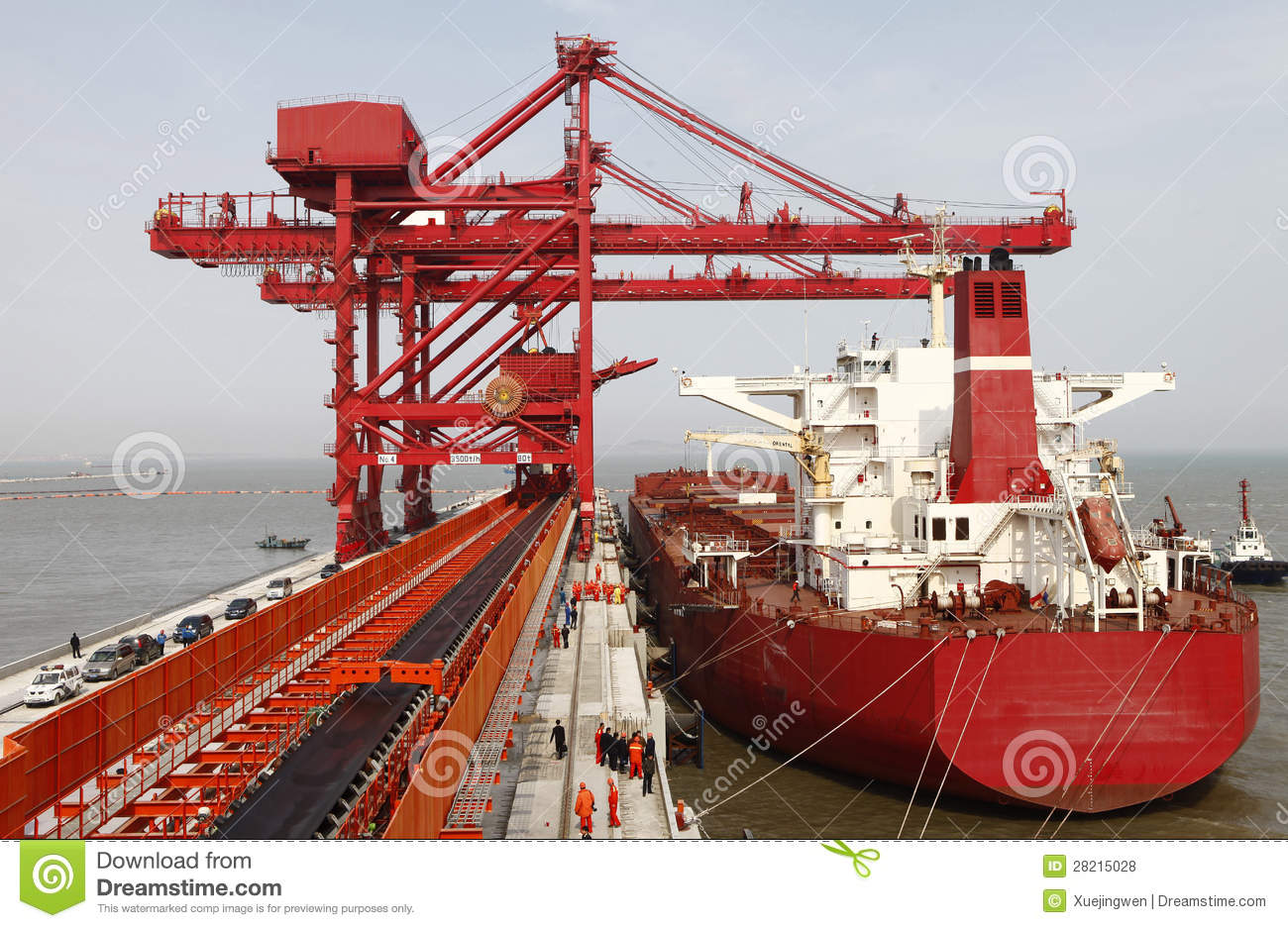 China Qingdao Port And Ton Iron Ore Terminal Editorial Stock Photo.