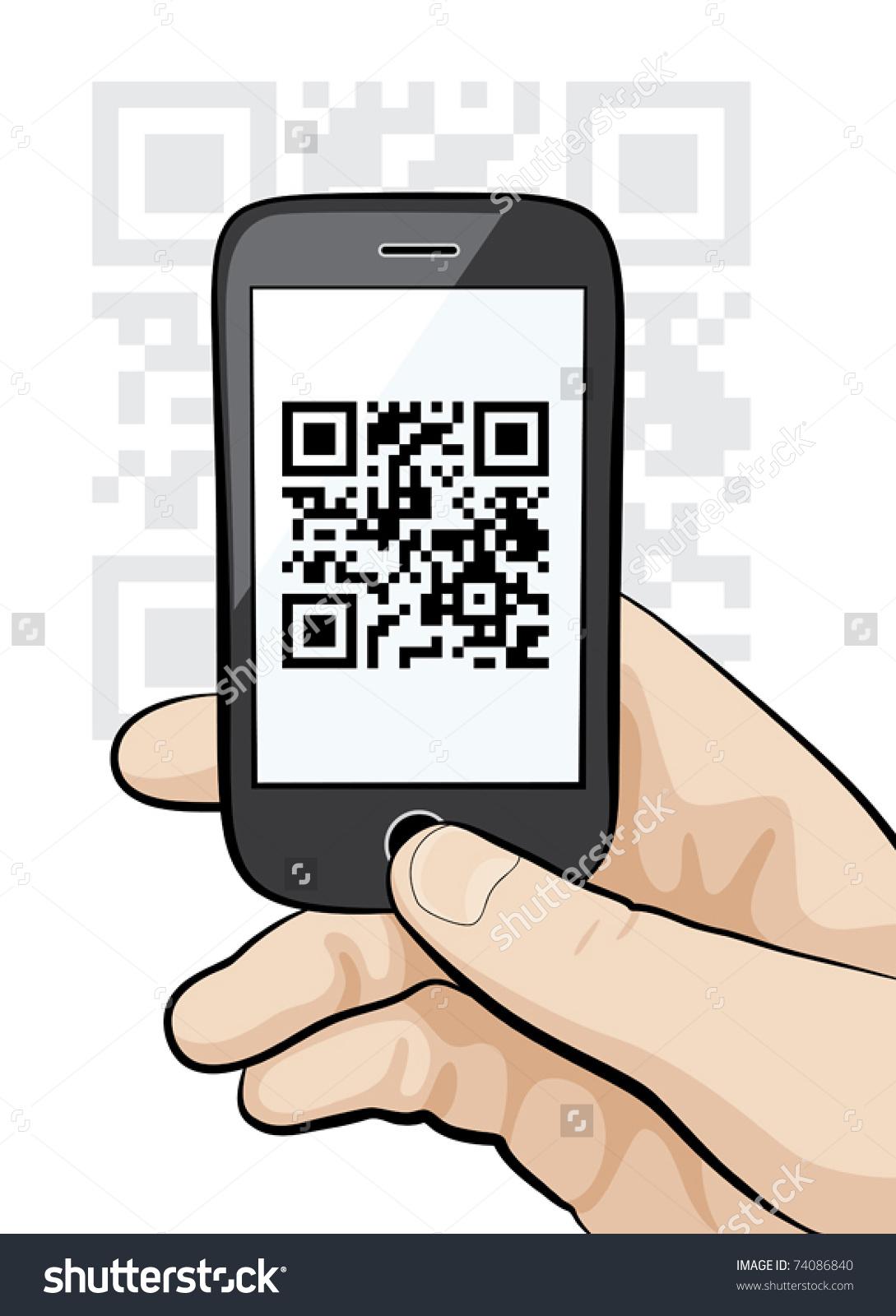 Illustration Mobile Phone Male Hand Scanning Stock Vector 74086840.