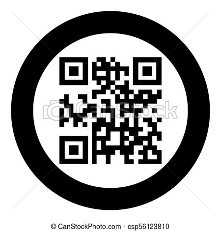 QR code icon black color in circle or round.