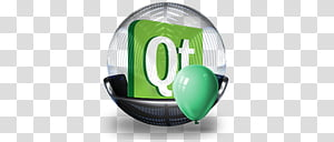 Sphere , green and white Qt text icon illustration.