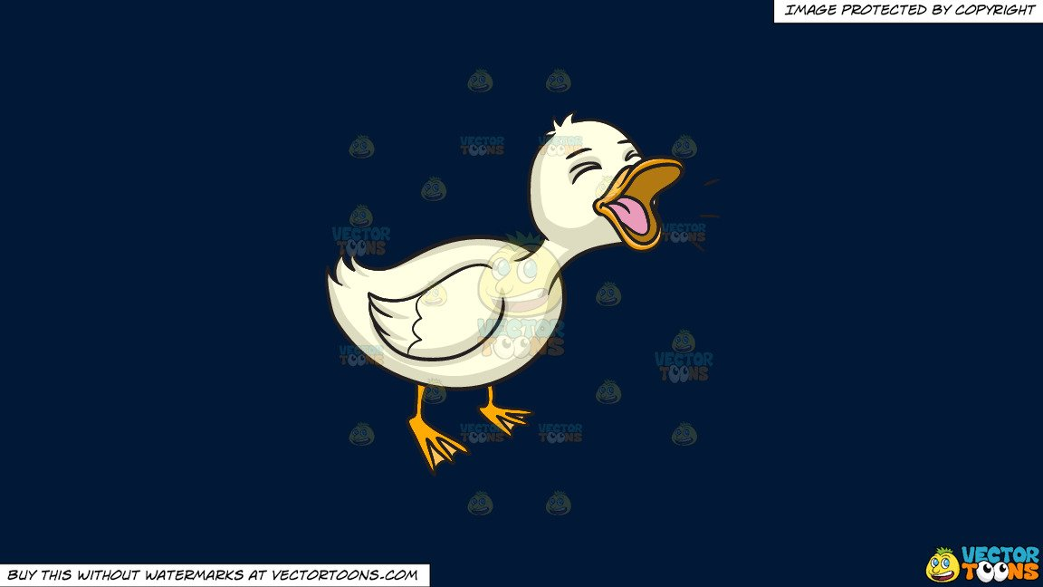 Clipart: A Quacking Duck on a Solid Dark Blue 011936 Background.