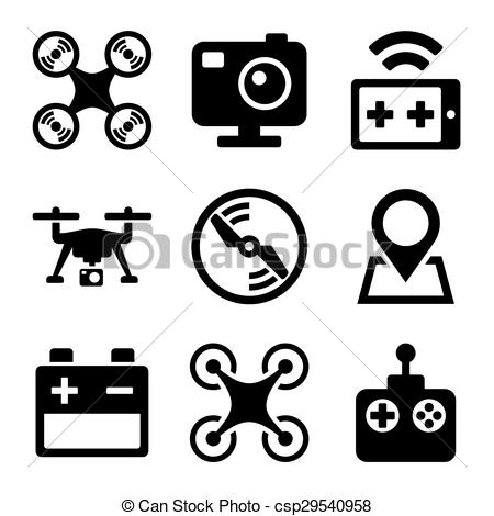 Clipart Vector of Quadcopter and Drone Icons Set on white.
