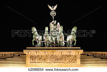 Stock Photo of berlin brandenburg gate by night with the quadriga.