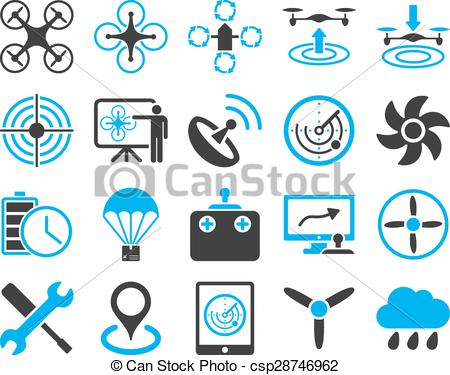 Clip Art Vector of Air drone and quadcopter tool icons. Icon set.