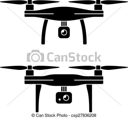 Vector Clipart of rc drone quadcopter with camera black symbol.