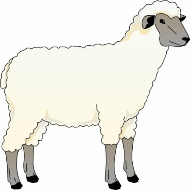 Lamb doodle with yellow bell clip art.
