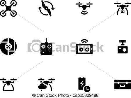 Vector of Quadcopter and flying drone icons on white background.