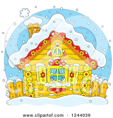 Clipart of a Quaint Log Cabin in the Snow.