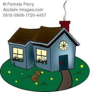 Clip Art Illustration of a Quaint Cottage.