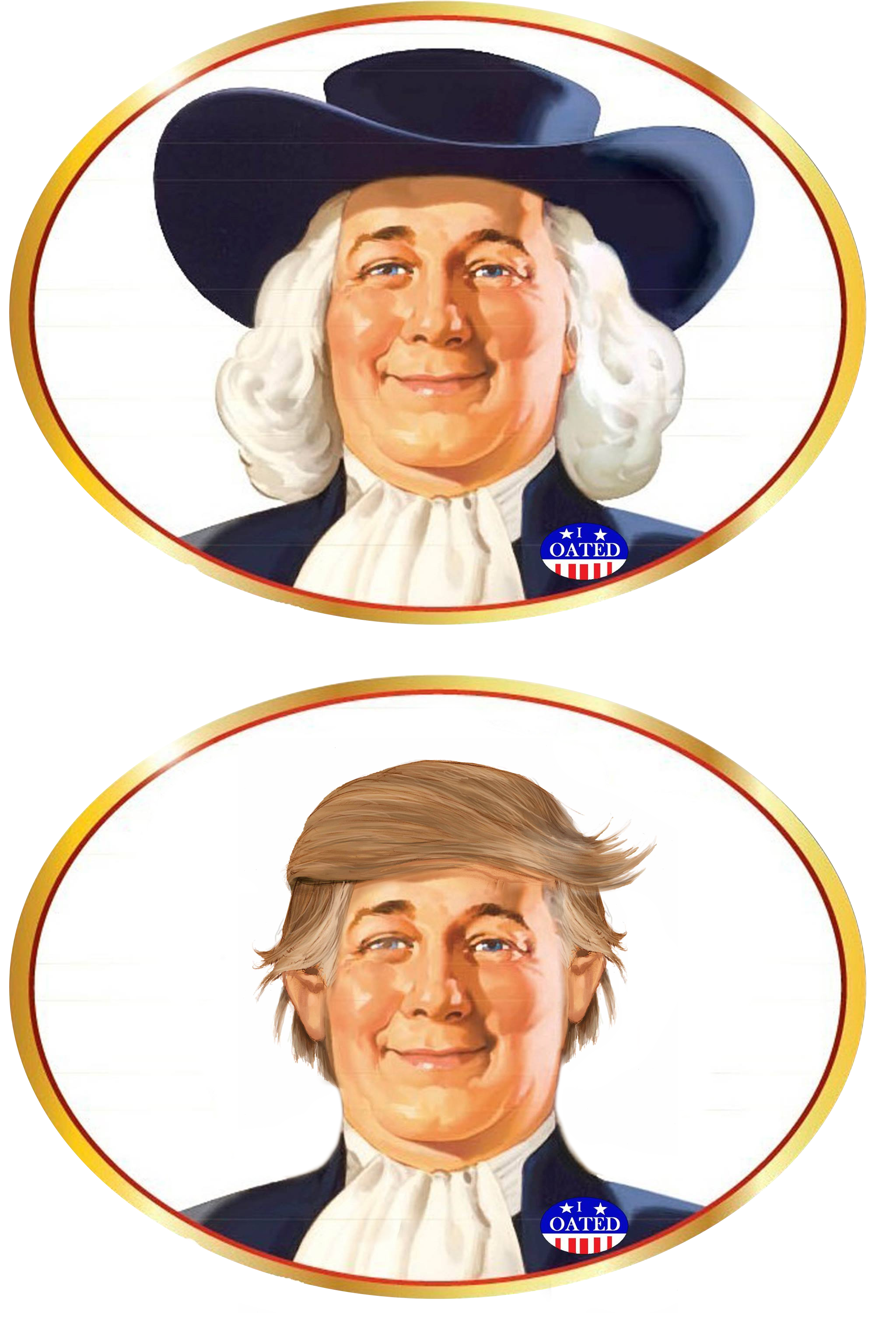 The quaker oats guy kind of looks like a charming Donald.