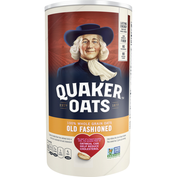 Quaker Oats Old Fashioned Oatmeal 18 Ounce Paper Cannister.