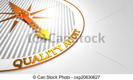 Clip Art of Quality Audit on White with Golden Compass..
