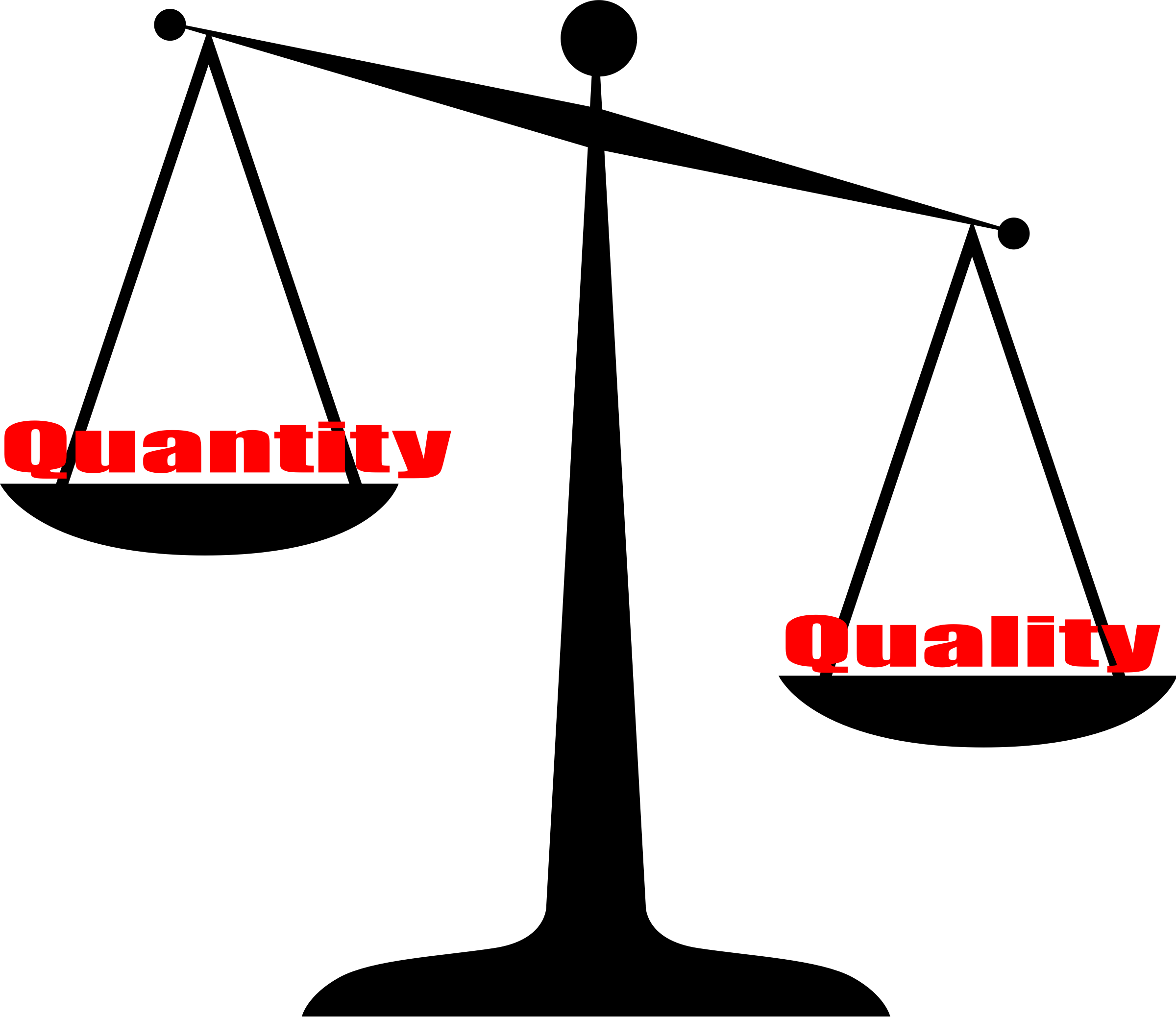 Quality vs Quantity Vector Clipart image.