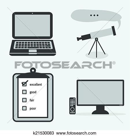 Clipart of Collection 4 part icon laptop, binoculars, quality qc.
