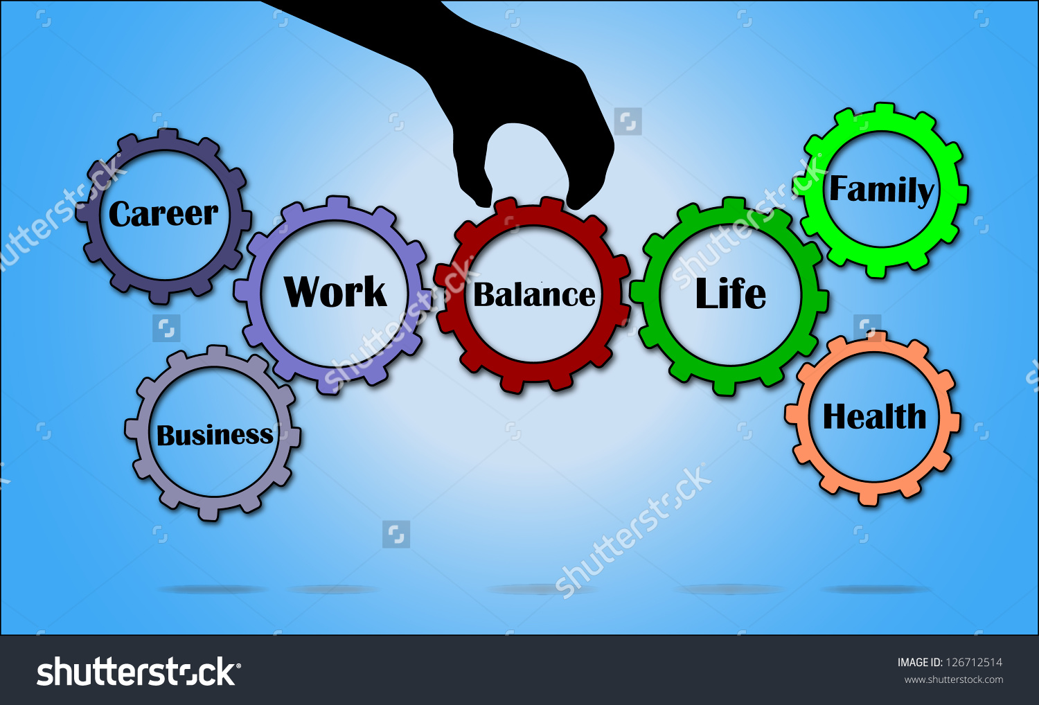 Work Life Balance Illustration Using Gears Stock Illustration.