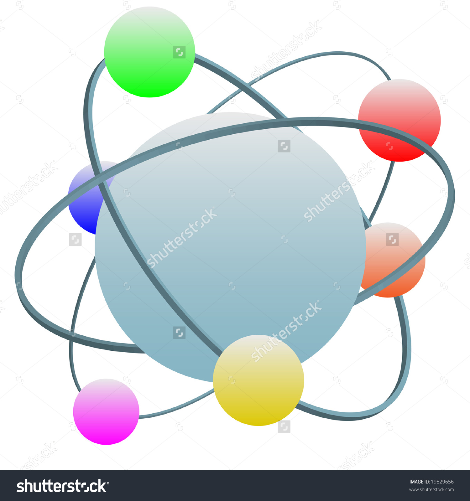 Idealized High Technology Atom Symbol With Colorful Electrons In.