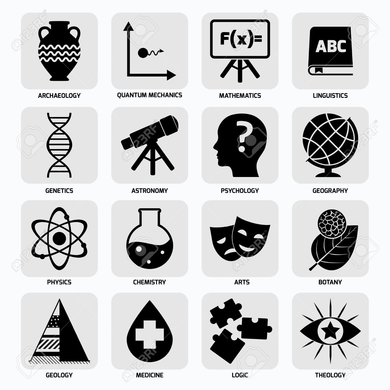 Science Areas Black Icons Set With Archaeology Quantum Mechanics.