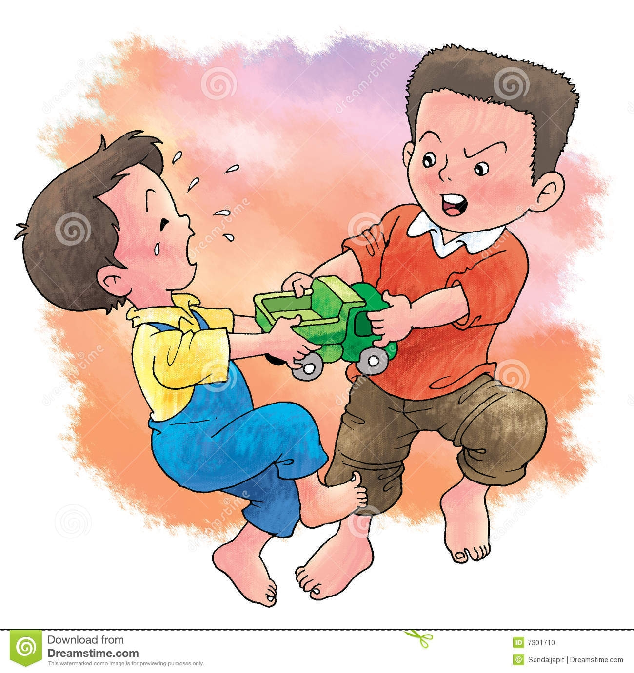 Children quarreling clipart.
