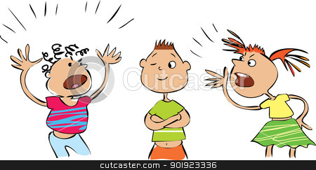 Children Quarreling Clipart.