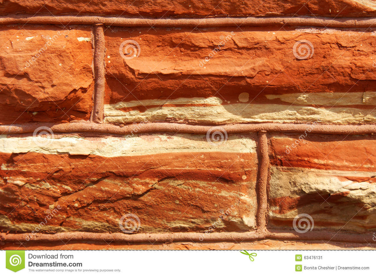 Quarried Red Sandstone Stock Photo.