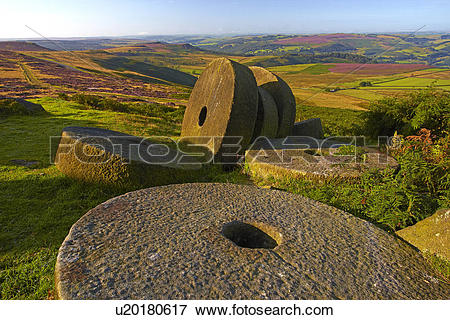 Picture of England, Derbyshire, Stanage Edge. Abandoned millstones.