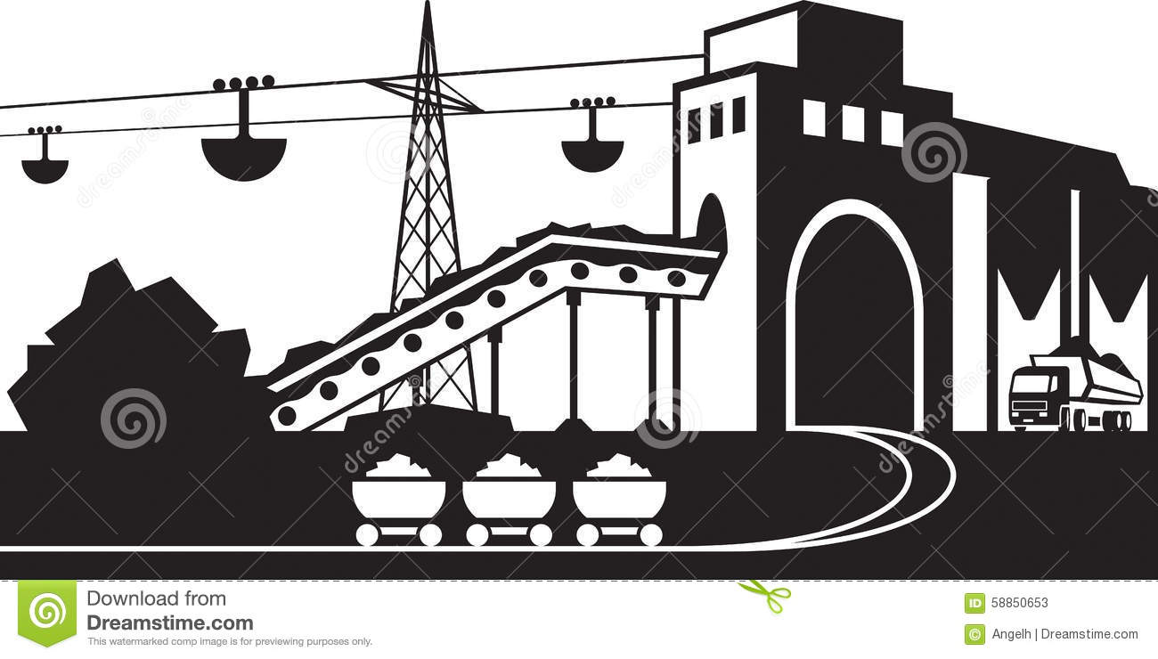 Mining And Quarrying Industry Scene Stock Vector.