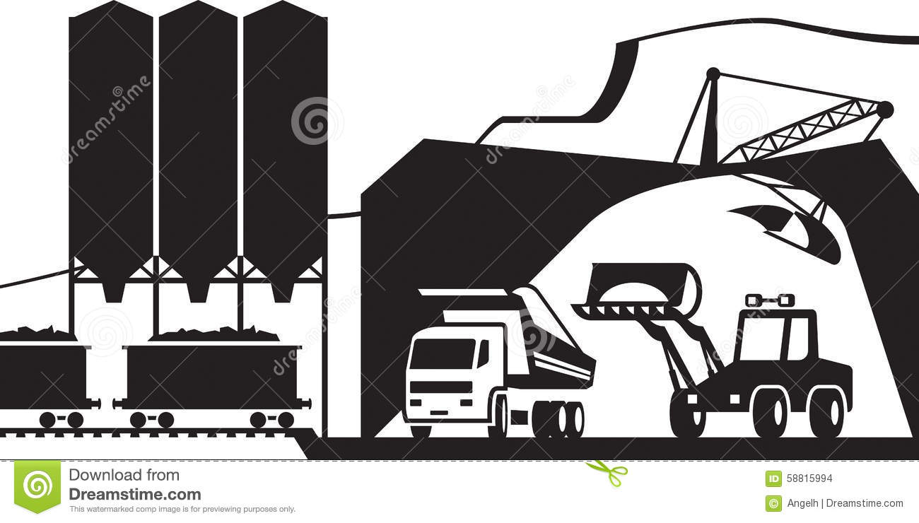 Quarry For Extraction Of Stone Gravel And Sand Stock Vector.