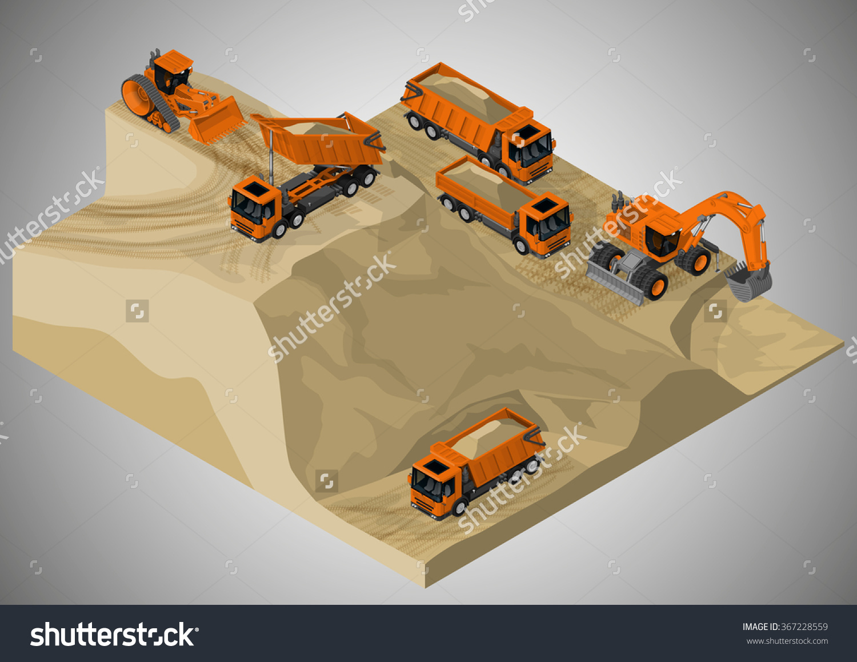 Vector Isometric Illustration Sand Quarry Machinery Stock Vector.