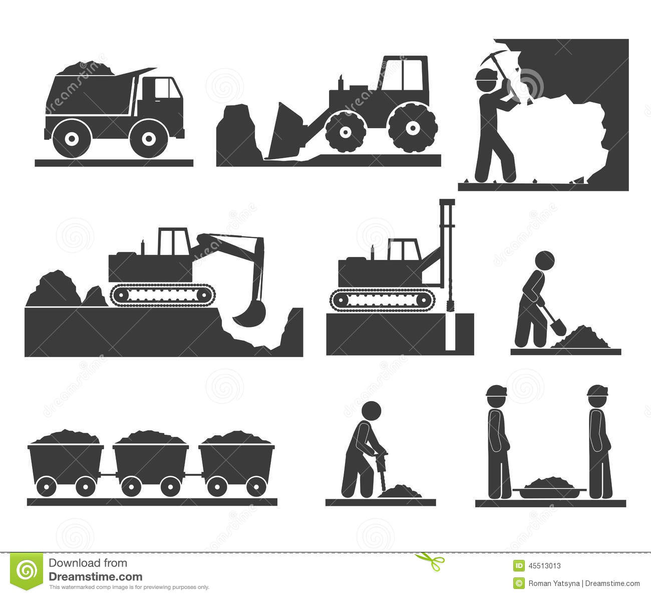 Construction Earthworks Icons Mining And Quarrying Stock Vector.