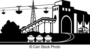 Vector Clip Art of Mining and quarrying industry objects and icons.