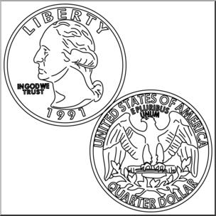 Clip Art: Quarter B&W I abcteach.com.