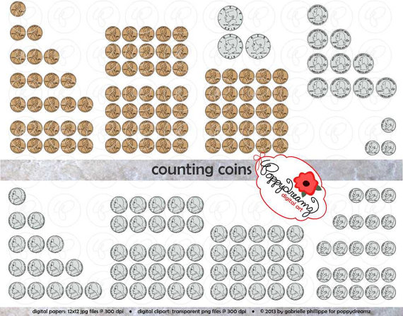 Counting Coins Money Clipart Set 300 dpi School Teacher.