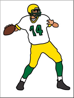 Clip Art: Football Quarterback Color I abcteach.com.