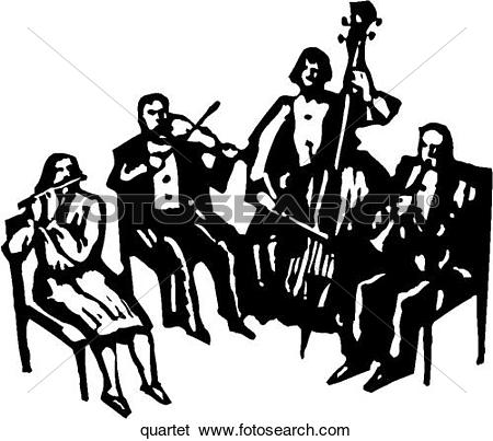 Clip Art of Quartet quartet.