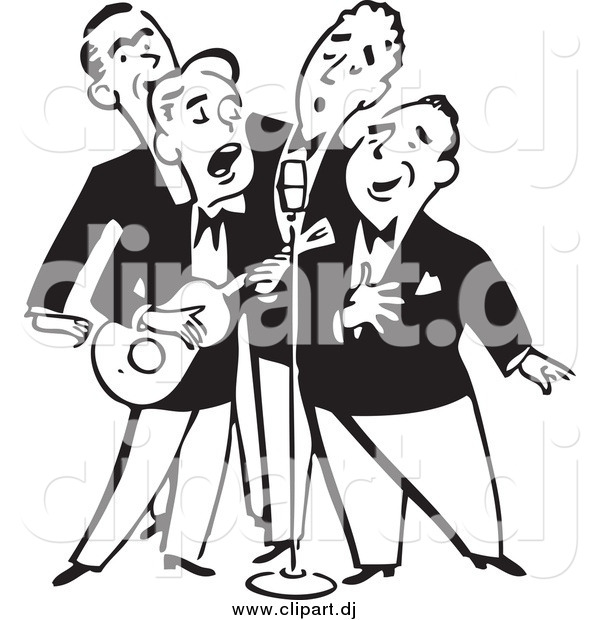 Vector Clipart of a Retro Black and White Quartet of Singing Men.