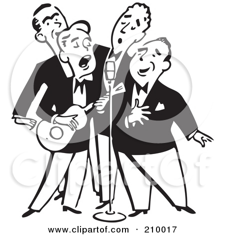 Retro Black And White Quartet Of Singing Men With A Banjo Posters.
