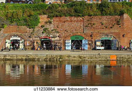 Stock Photo of England, Devon, Exeter. Craft shops in the old.
