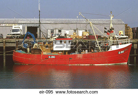 Stock Image of Red Trawler Fishing Boat at Quayside Galway Ireland.