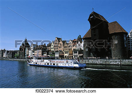 Stock Photo of Poland, Gdansk, quays of the Motlawa River.