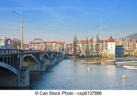 Stock Image of Beautiful Prague bridges and quays.