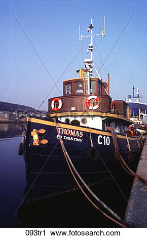 Stock Photography of Blue Tug Boat Moored at Quayside 093tr1.