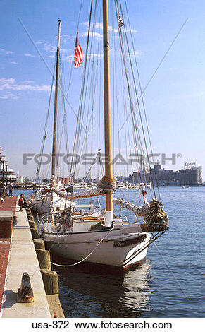 Stock Photo of Yacht at Quayside Baltimore USA usa.