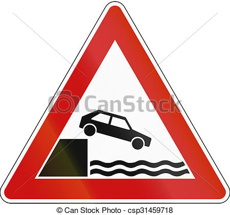 Clipart of A road warning sign in Germany: Quayside or river bank.